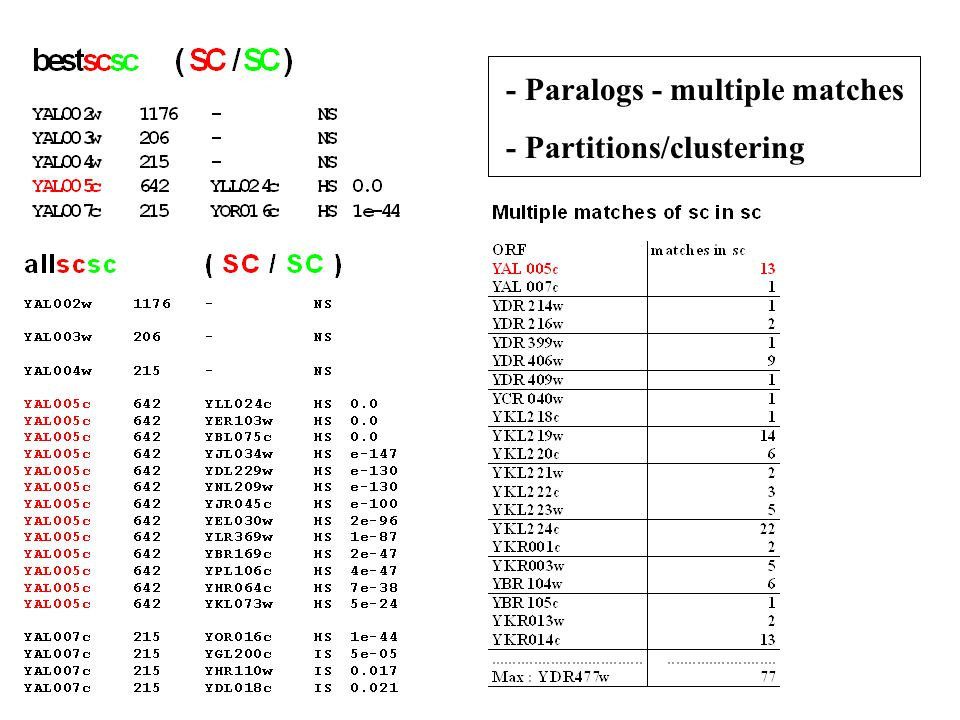 - Paralogs - multiple matches - Partitions/clustering