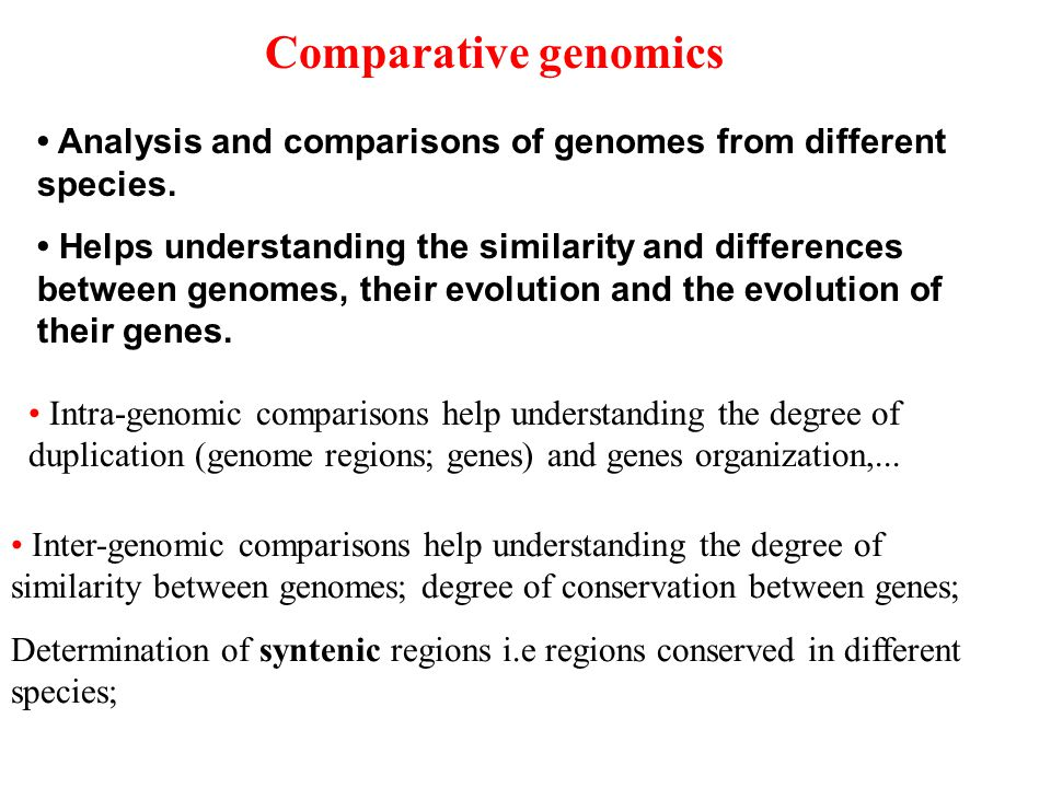 Comparative genomics Analysis and comparisons of genomes from different species.