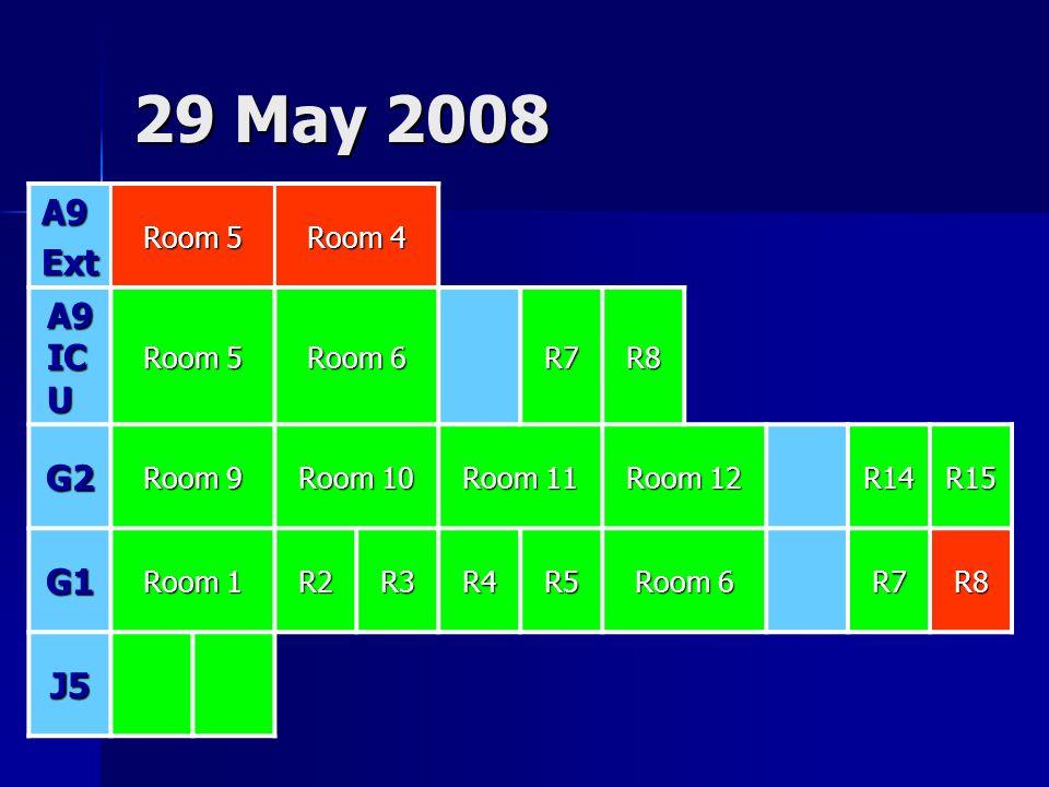 29 May 2008 A9Ext Room 5 Room 4 A9 IC U Room 5 Room 6 R7R8 G2 Room 9 Room 10 Room 11 Room 12 R14R15 G1 Room 1 R2R3R4R5 Room 6 R7R8 J5