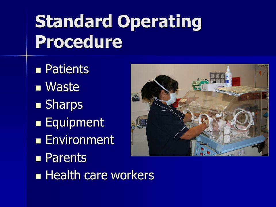 Standard Operating Procedure Patients Patients Waste Waste Sharps Sharps Equipment Equipment Environment Environment Parents Parents Health care worke