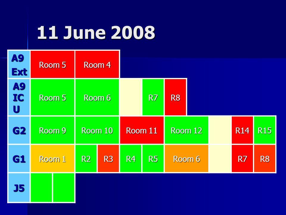 11 June 2008 A9Ext Room 5 Room 4 A9 IC U Room 5 Room 6 R7R8 G2 Room 9 Room 10 Room 11 Room 12 R14R15 G1 Room 1 R2R3R4R5 Room 6 R7R8 J5