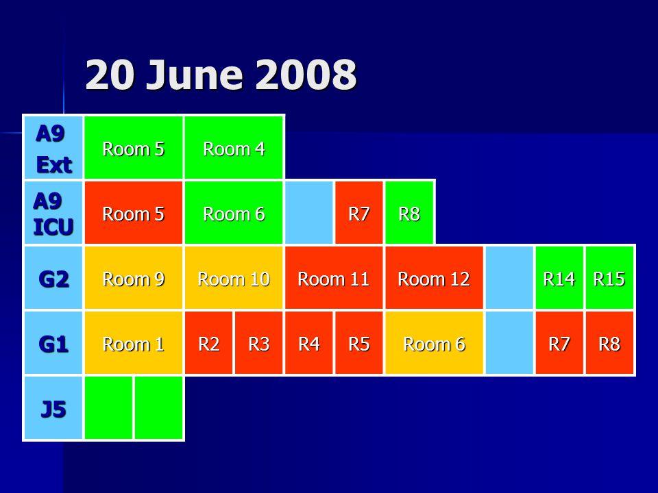 20 June 2008 A9Ext Room 5 Room 4 A9 ICU Room 5 Room 6 R7R8 G2 Room 9 Room 10 Room 11 Room 12 R14R15 G1 Room 1 R2R3R4R5 Room 6 R7R8 J5