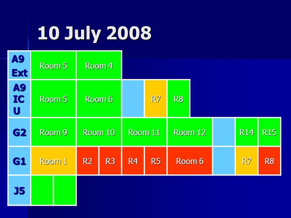 10 July 2008 A9Ext Room 5 Room 4 A9 IC U Room 5 Room 6 R7R8 G2 Room 9 Room 10 Room 11 Room 12 R14R15 G1 Room 1 R2R3R4R5 Room 6 R7R8 J5