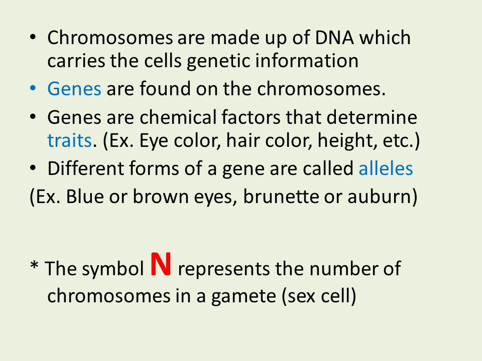 Chromosomes are made up of DNA which carries the cells genetic information Genes are found on the chromosomes. Genes are chemical factors that determi