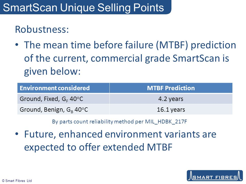 © Smart Fibres Ltd SmartScan Unique Selling Points Robustness: The mean time before failure (MTBF) prediction of the current, commercial grade SmartScan is given below: Future, enhanced environment variants are expected to offer extended MTBF Environment consideredMTBF Prediction Ground, Fixed, G F 40 o C4.2 years Ground, Benign, G B 40 o C16.1 years By parts count reliability method per MIL_HDBK_217F