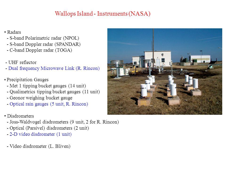Wallops Island - Instruments (Loan, past & present) Radars - X-band polarimetric radar (NOAA-ETL, PI: S.