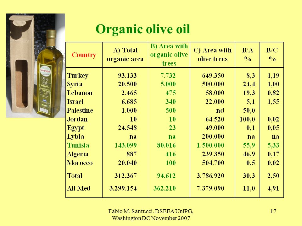 Fabio M. Santucci. DSEEA UniPG, Washington DC November Organic olive oil