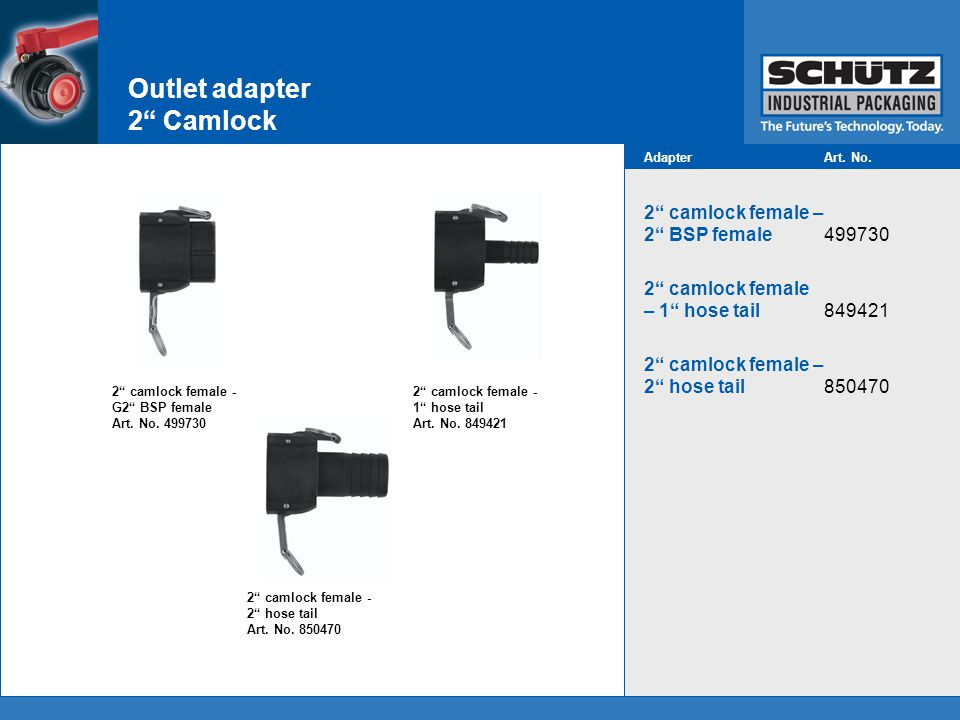 Outlet adapter 2 Camlock 2 camlock female - 2 hose tail Art.