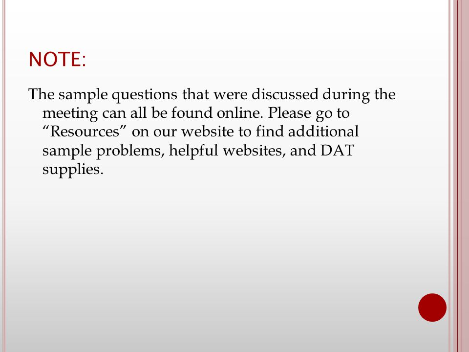 NOTE: The sample questions that were discussed during the meeting can all be found online.