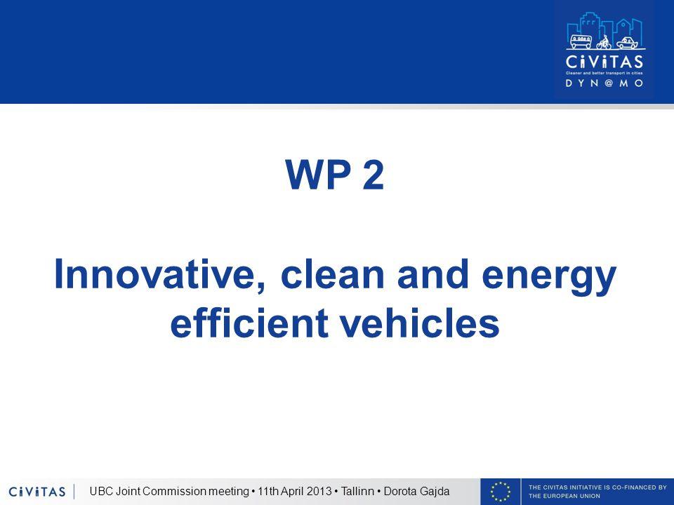 UBC Joint Commission meeting 11th April 2013 Tallinn Dorota Gajda WP 2 Innovative, clean and energy efficient vehicles