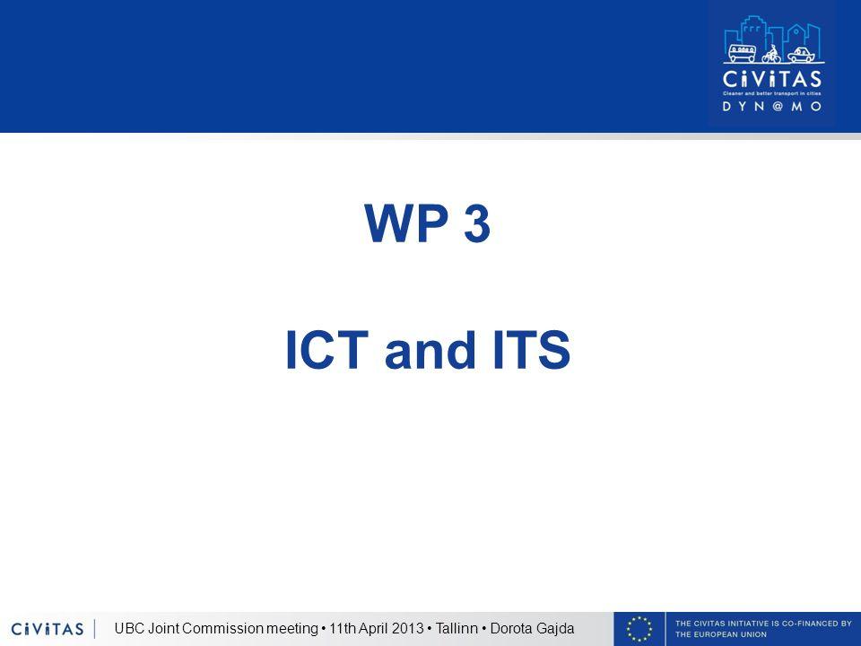 UBC Joint Commission meeting 11th April 2013 Tallinn Dorota Gajda WP 3 ICT and ITS