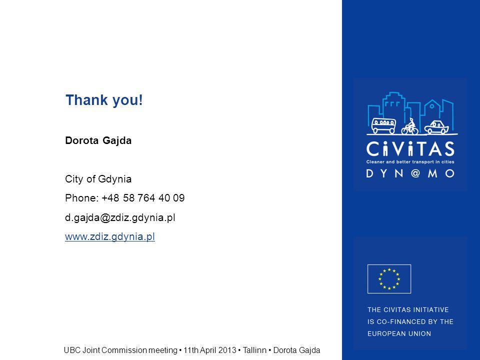 Thank you! Dorota Gajda City of Gdynia Phone: +48 58 764 40 09 d.gajda@zdiz.gdynia.pl www.zdiz.gdynia.pl UBC Joint Commission meeting 11th April 2013