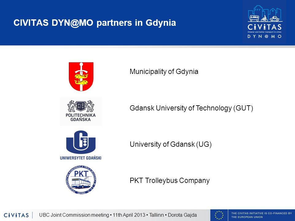 CIVITAS DYN@MO partners in Gdynia UBC Joint Commission meeting 11th April 2013 Tallinn Dorota Gajda Municipality of Gdynia Gdansk University of Techno