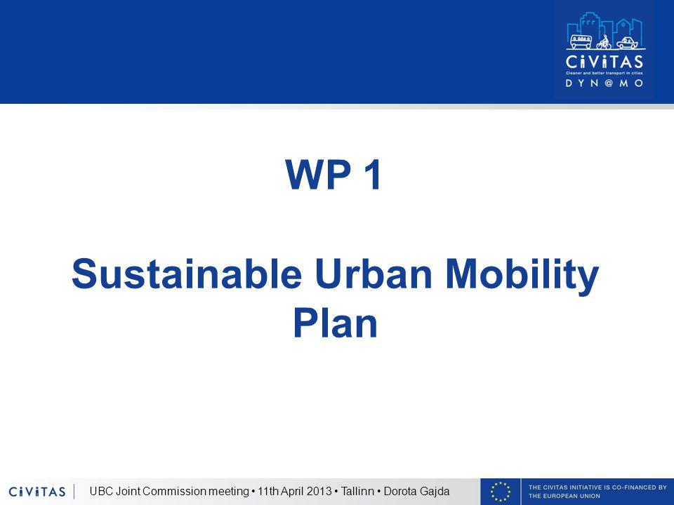 UBC Joint Commission meeting 11th April 2013 Tallinn Dorota Gajda WP 1 Sustainable Urban Mobility Plan