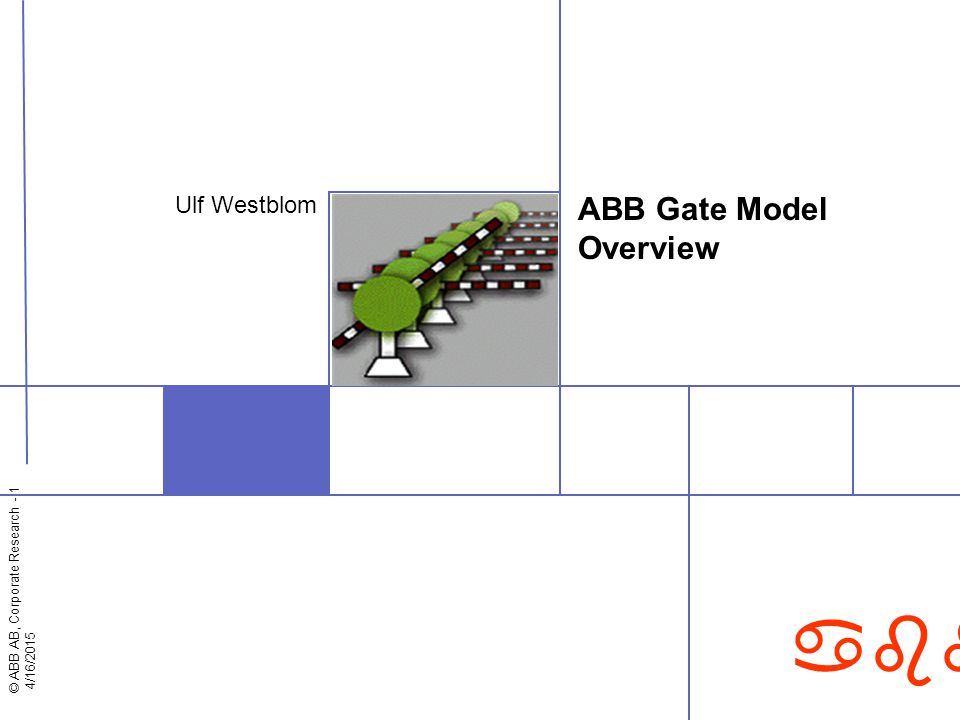 © ABB AB, Corporate Research - 1 4/16/2015 abb ABB Gate Model Overview Ulf Westblom