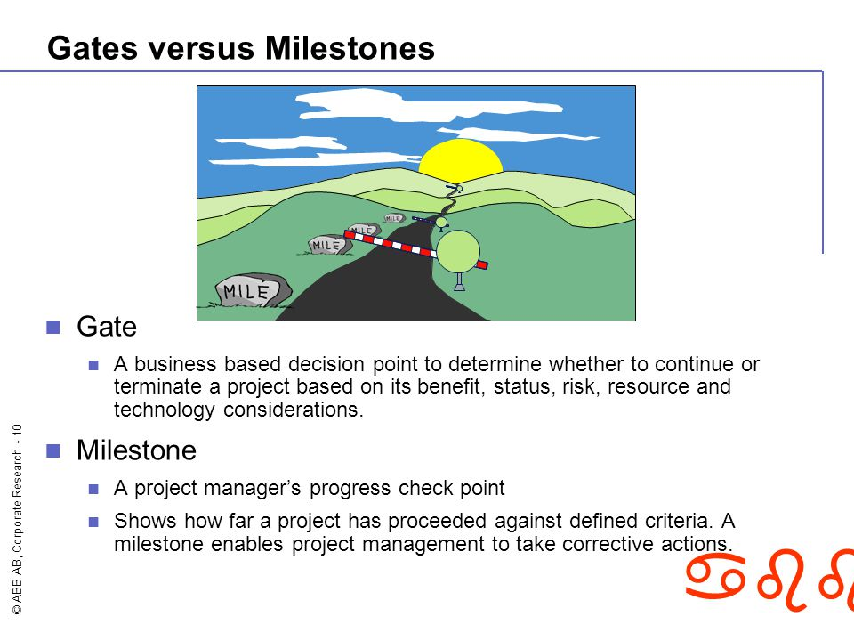 © ABB AB, Corporate Research - 10 abb Gates versus Milestones Gate A business based decision point to determine whether to continue or terminate a pro