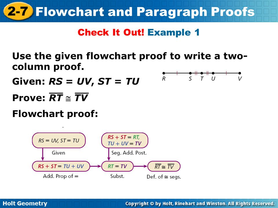 Holt Geometry 2-7 Flowchart and Paragraph Proofs Prove: 2AB = AC Use the given two-column proof to write a flowchart proof.
