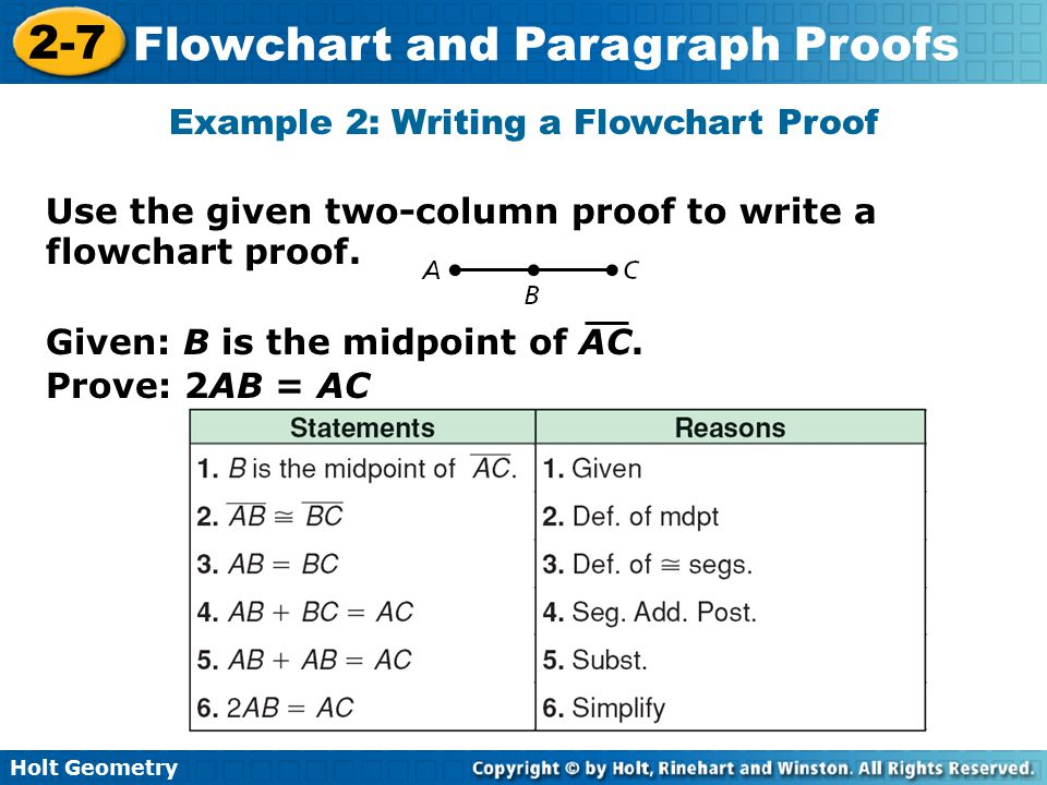 Holt Geometry 2-7 Flowchart and Paragraph Proofs Check It Out.
