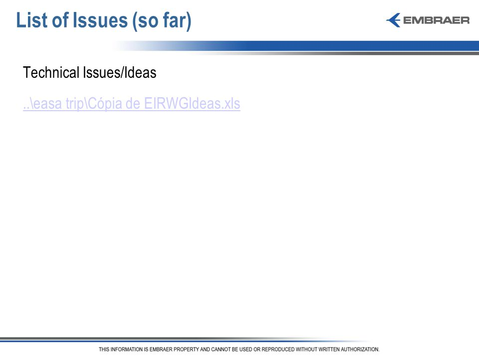 List of Issues (so far) Technical Issues/Ideas..\easa trip\Cópia de EIRWGIdeas.xls