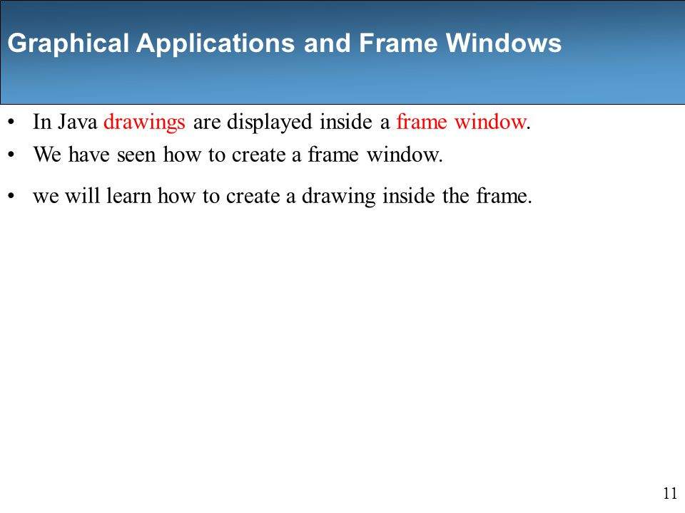 In Java drawings are displayed inside a frame window.