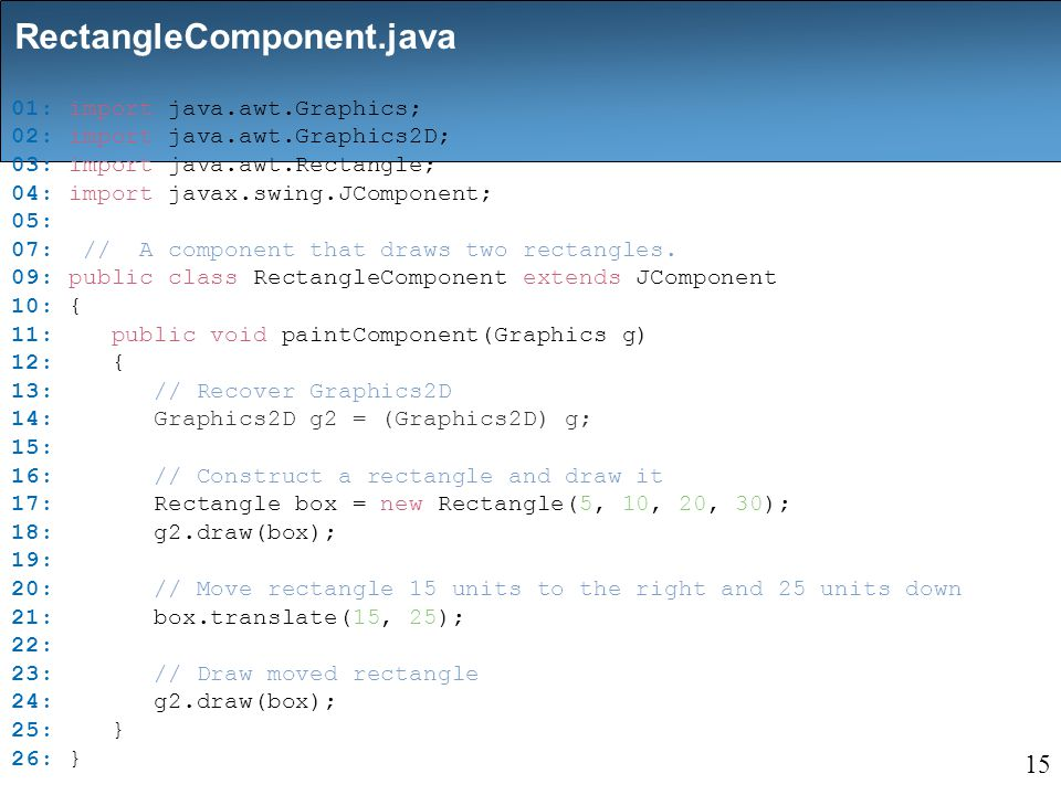 01: import java.awt.Graphics; 02: import java.awt.Graphics2D; 03: import java.awt.Rectangle; 04: import javax.swing.JComponent; 05: 07: // A component that draws two rectangles.