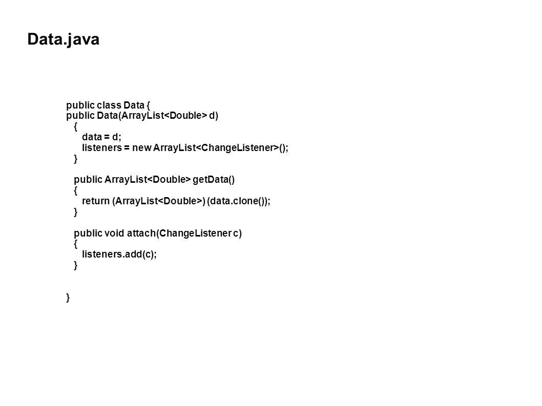 Data.java public class Data { public Data(ArrayList d) { data = d; listeners = new ArrayList (); } public ArrayList getData() { return (ArrayList ) (data.clone()); } public void attach(ChangeListener c) { listeners.add(c); }