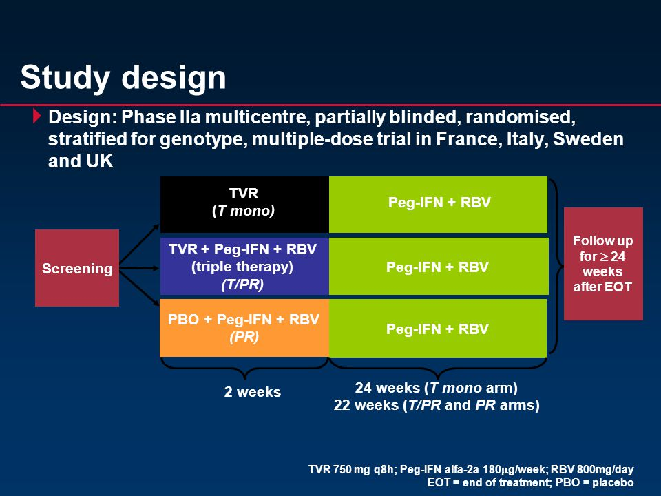  Design: Phase IIa multicentre, partially blinded, randomised, stratified for genotype, multiple-dose trial in France, Italy, Sweden and UK Study design TVR + Peg-IFN + RBV (triple therapy) (T/PR) Peg-IFN + RBV 2 weeks Screening Follow up for  24 weeks after EOT 24 weeks (T mono arm) 22 weeks (T/PR and PR arms) TVR (T mono) TVR 750 mg q8h; Peg-IFN alfa-2a 180  g/week; RBV 800mg/day EOT = end of treatment; PBO = placebo PBO + Peg-IFN + RBV (PR)