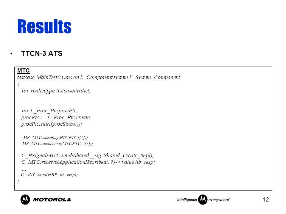 12 Results TTCN-3 ATS MTC testcase MainTest() runs on L_Component system L_System_Component { var verdicttype testcaseVerdict; ….