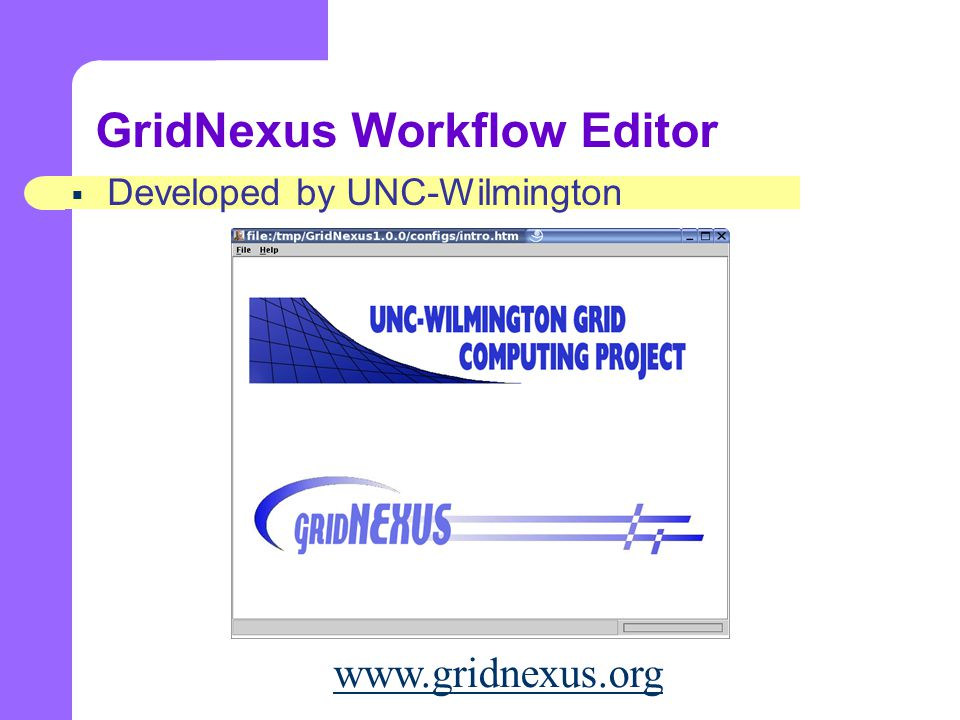 GridNexus Workflow Editor  Developed by UNC-Wilmington www.gridnexus.org