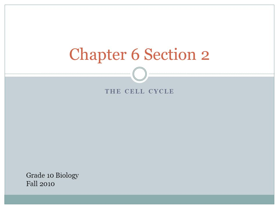 THE CELL CYCLE Chapter 6 Section 2 Grade 10 Biology Fall 2010