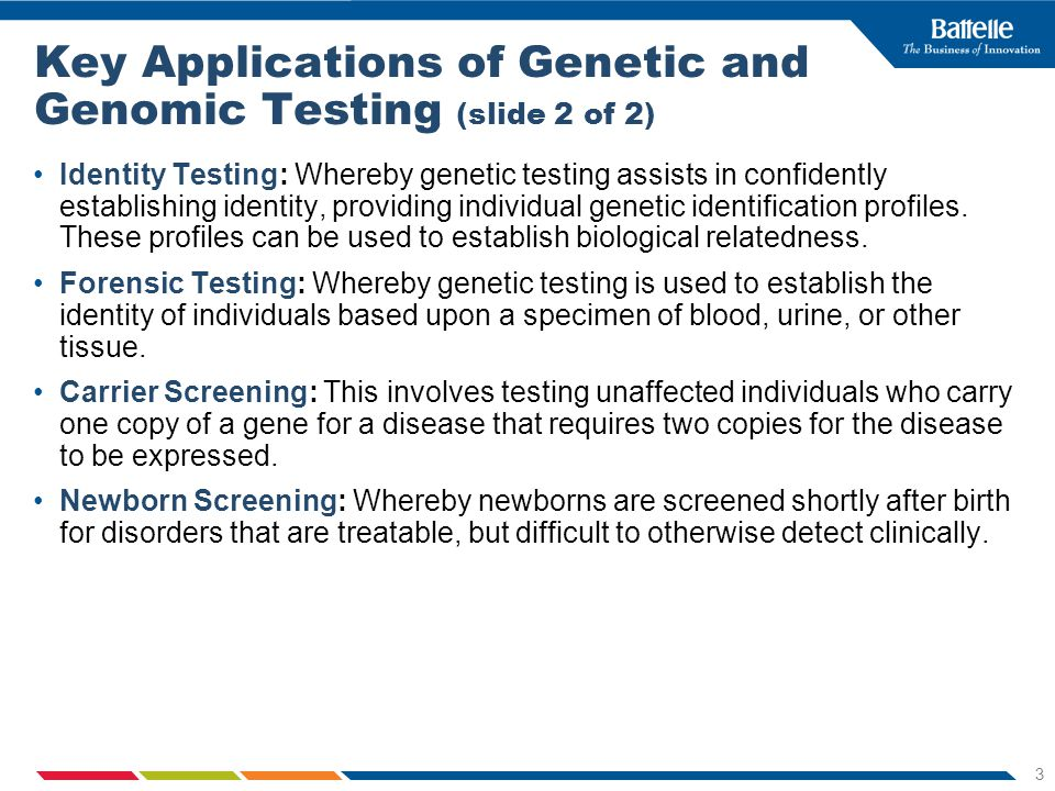 3 Identity Testing: Whereby genetic testing assists in confidently establishing identity, providing individual genetic identification profiles.