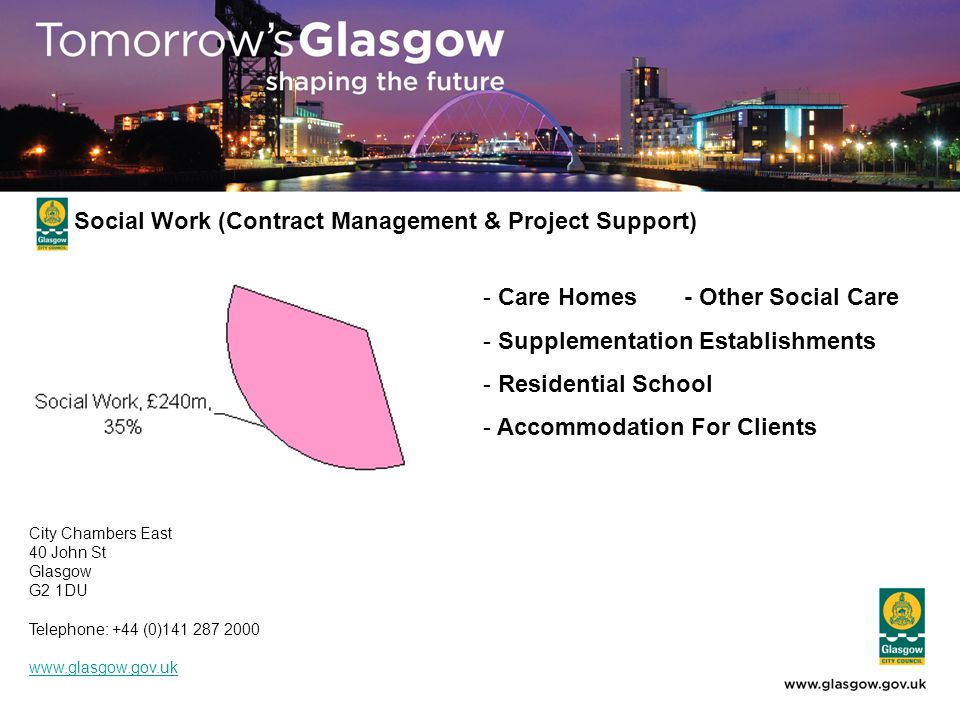 - Care Homes- Other Social Care - Supplementation Establishments - Residential School - Accommodation For Clients Social Work (Contract Management & Project Support) City Chambers East 40 John St Glasgow G2 1DU Telephone: +44 (0)141 287 2000 www.glasgow.gov.uk