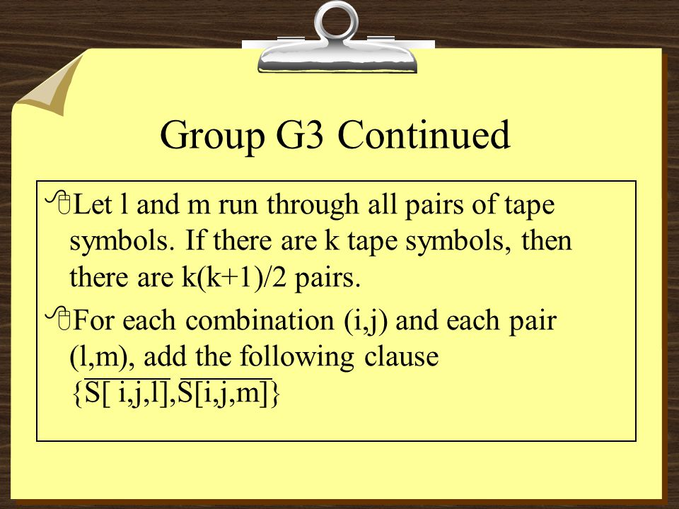 Group G3 Continued 8Let l and m run through all pairs of tape symbols.