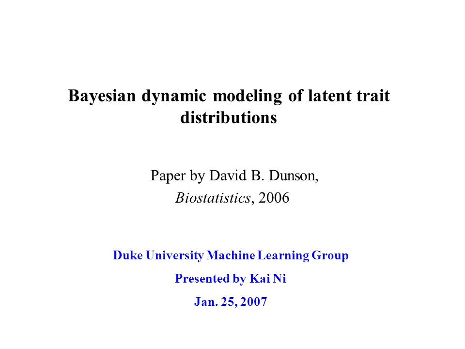 Outline Introduction Measurement model Dynamic mixture of Dirichlet processes Inference Results & Conclusion