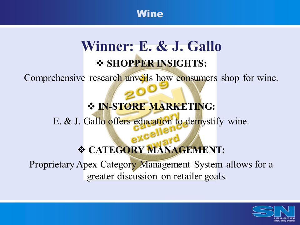 Wine Winner: E. & J. Gallo  SHOPPER INSIGHTS: Comprehensive research unveils how consumers shop for wine.  IN-STORE MARKETING: E. & J. Gallo offers