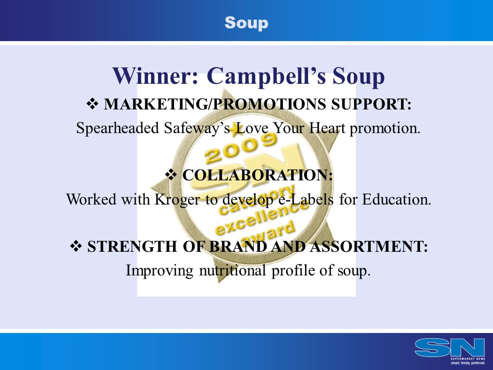 Soup Winner: Campbell's Soup  MARKETING/PROMOTIONS SUPPORT: Spearheaded Safeway's Love Your Heart promotion.