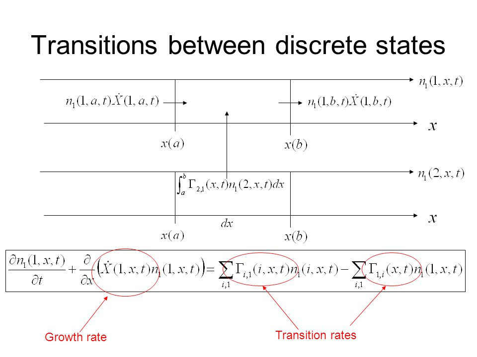 Transitions between discrete states Growth rate Transition rates