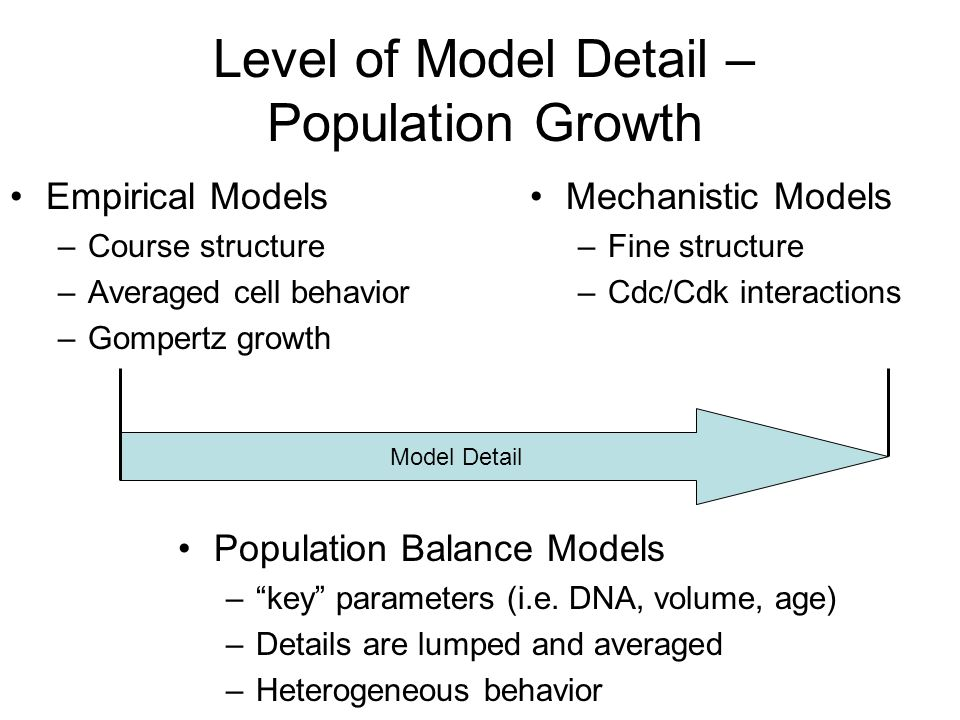Level of Model Detail – Population Growth Empirical Models –Course structure –Averaged cell behavior –Gompertz growth Mechanistic Models –Fine structure –Cdc/Cdk interactions Population Balance Models – key parameters (i.e.