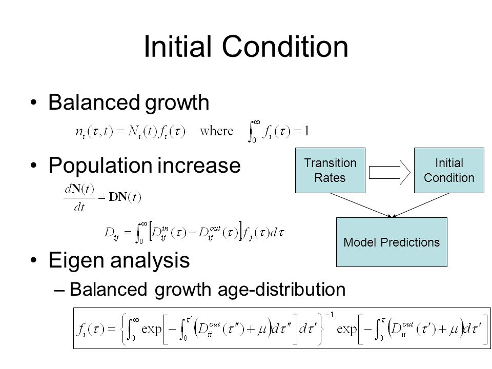 Initial Condition Balanced growth Population increase Eigen analysis –Balanced growth age-distribution Transition Rates Initial Condition Model Predictions