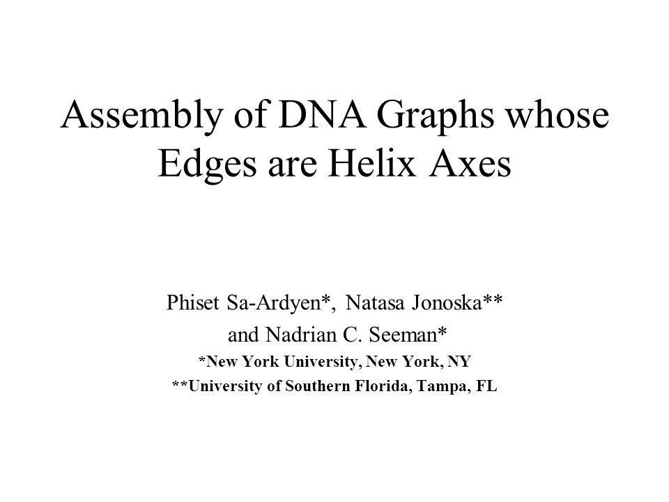 Assembly of DNA Graphs whose Edges are Helix Axes Phiset Sa-Ardyen*, Natasa Jonoska** and Nadrian C.