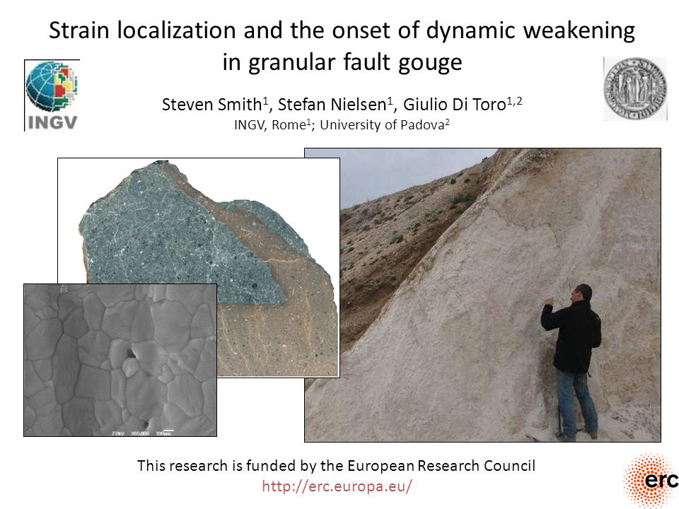 Talk outline Exploring the rheology of granular fault gouges during rapid (earthquake) shear – motivations Experimentally reproducing earthquake-like slip pulses in fault gouges Feedback between strain localization and weakening in fault gouges at coseismic slip rates Conclusions