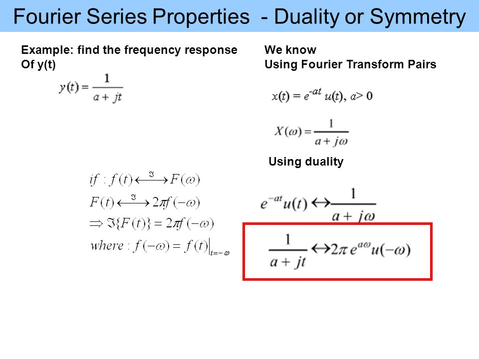 Fourier Series Properties - Duality or Symmetry Example: find the frequency response Of y(t) We know Using Fourier Transform Pairs Using duality