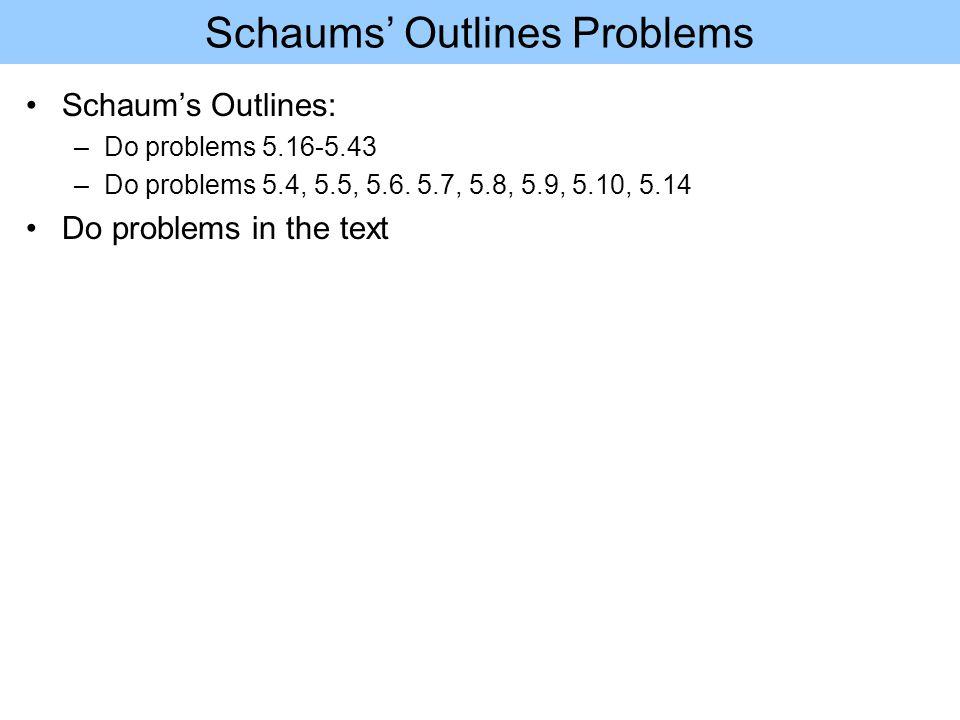Schaums' Outlines Problems Schaum's Outlines: –Do problems 5.16-5.43 –Do problems 5.4, 5.5, 5.6.