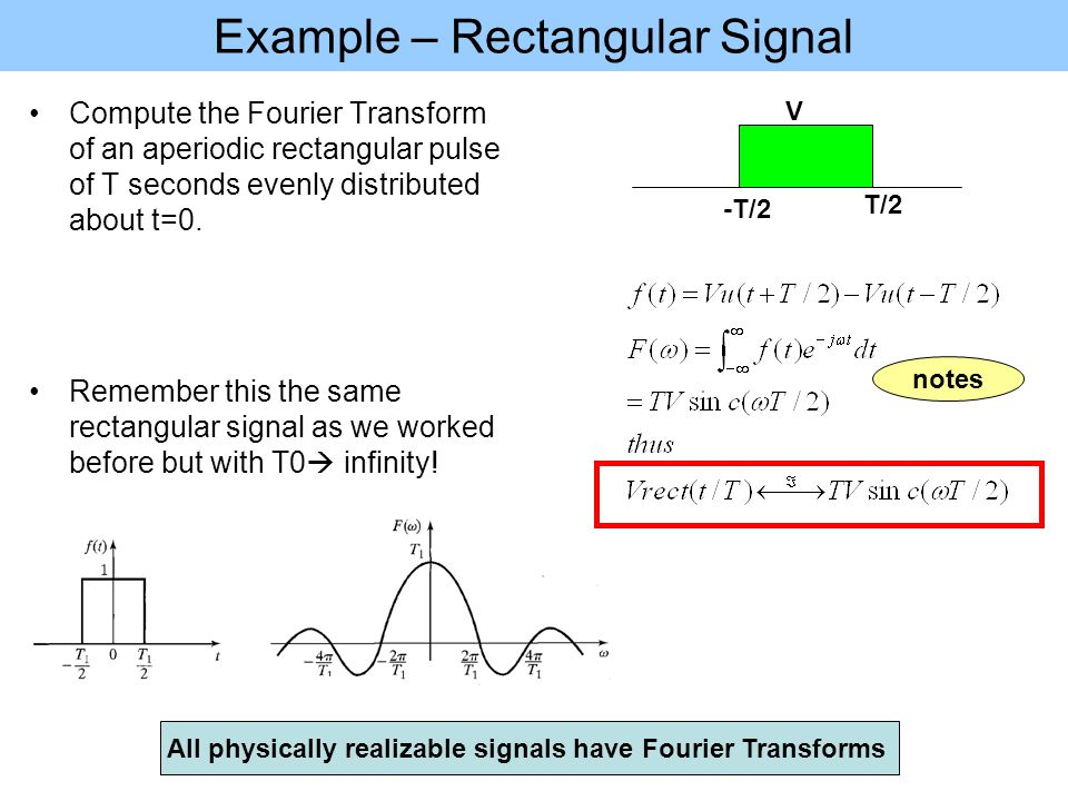 Example – Rectangular Signal Compute the Fourier Transform of an aperiodic rectangular pulse of T seconds evenly distributed about t=0.