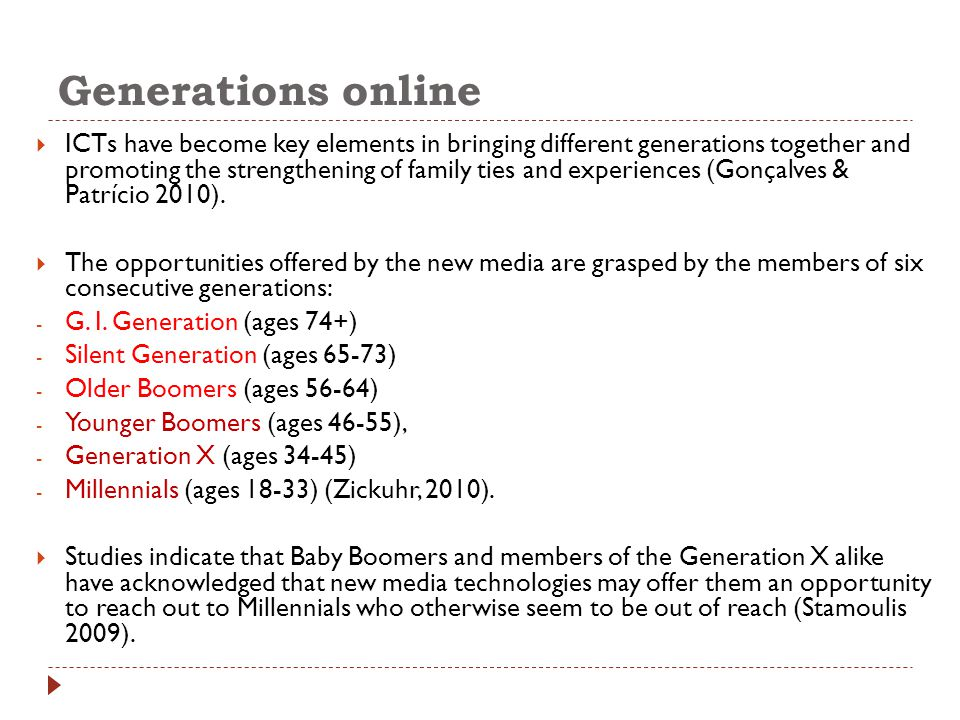Generations online  ICTs have become key elements in bringing different generations together and promoting the strengthening of family ties and experiences (Gonçalves & Patrício 2010).