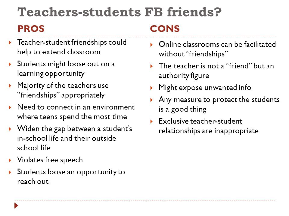 Teachers-students FB friends? PROSCONS  Teacher-student friendships could help to extend classroom  Students might loose out on a learning opportuni