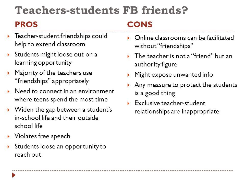 Teachers-students FB friends.