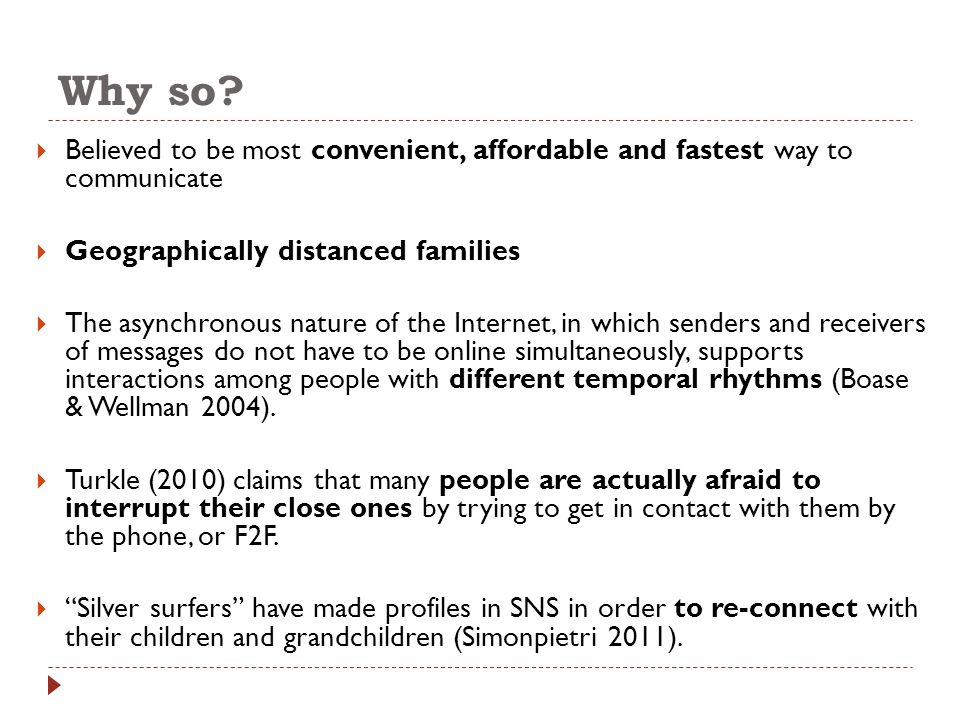 Why so?  Believed to be most convenient, affordable and fastest way to communicate  Geographically distanced families  The asynchronous nature of t
