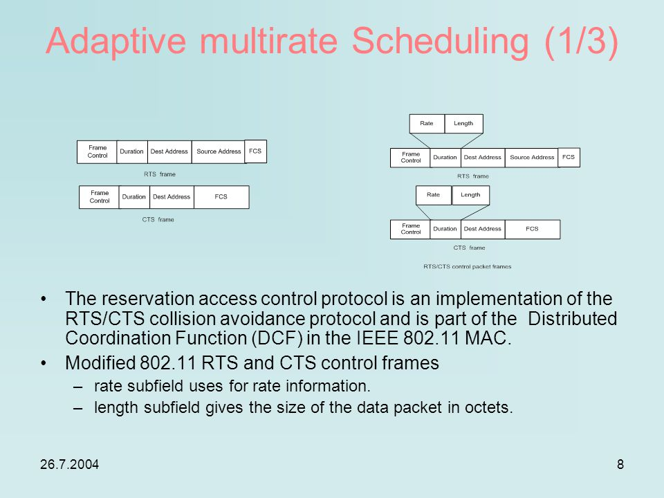 26.7.20048 Adaptive multirate Scheduling (1/3) The reservation access control protocol is an implementation of the RTS/CTS collision avoidance protocol and is part of the Distributed Coordination Function (DCF) in the IEEE 802.11 MAC.