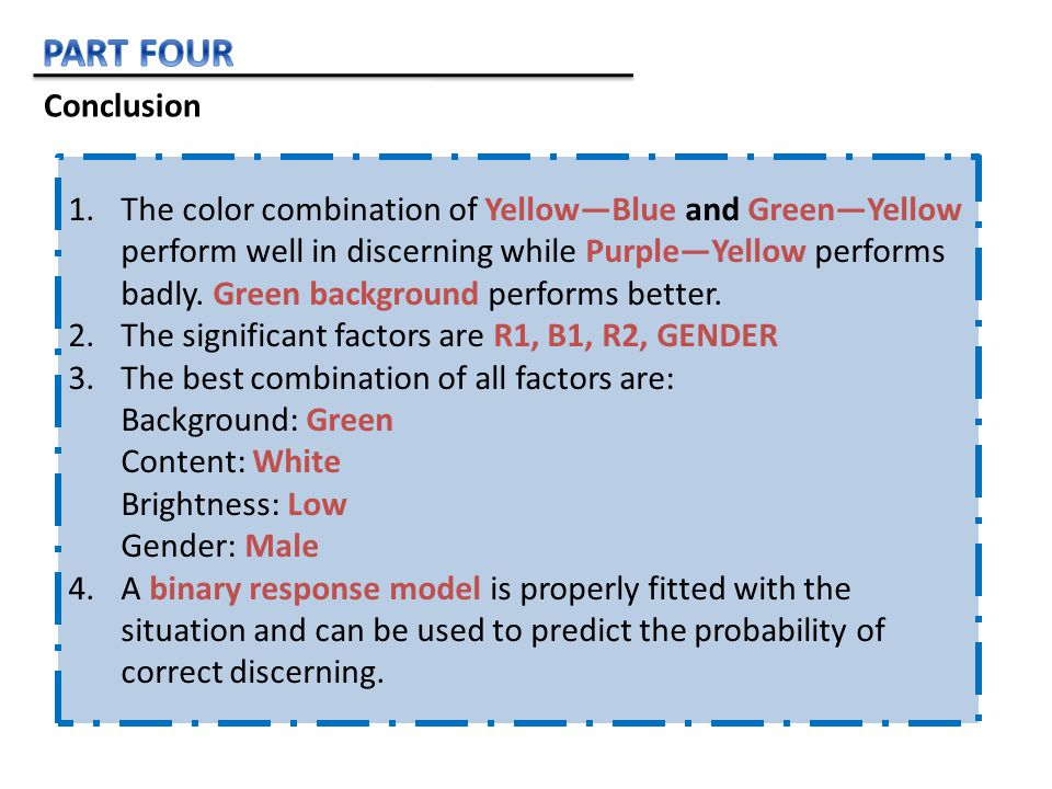 Conclusion 1.The color combination of Yellow—Blue and Green—Yellow perform well in discerning while Purple—Yellow performs badly.